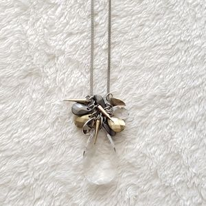 Clear Teardrop Pendant Necklace with Metal Accents